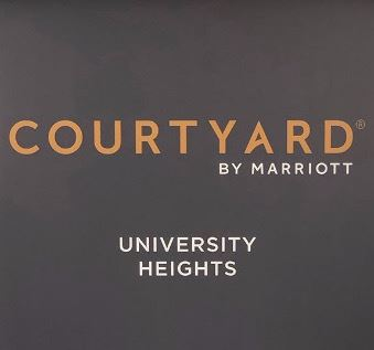 Logo that reads Courtyard by Marriott, University Heights.