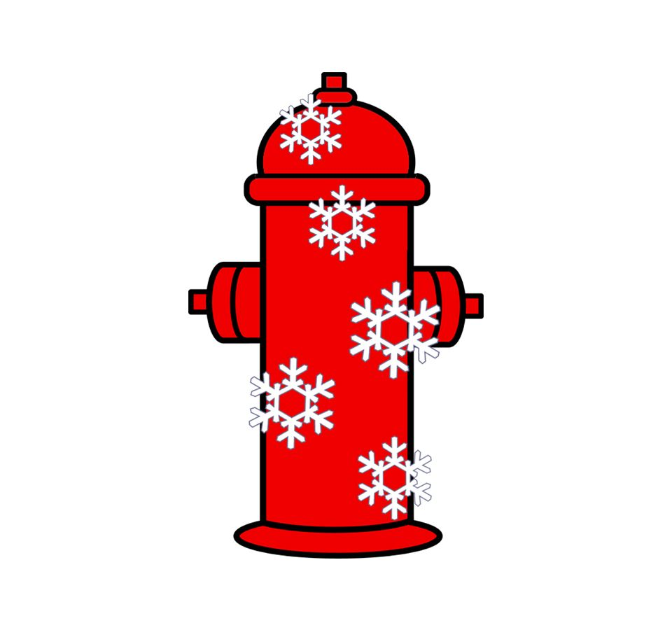 Red fire hydrant graphic with five large snowflakes